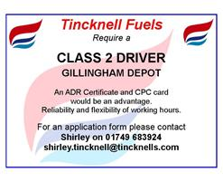 Tincknell Fuels require a HGV Driver!